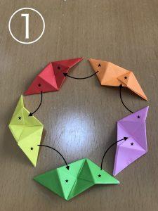 立体くす玉の折り紙組み立て1